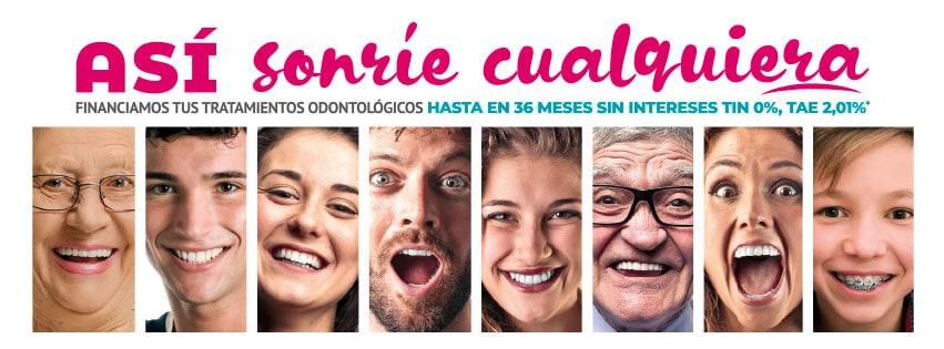 Así sonríe cualquiera. Financiamos tus tratamientos odontológicos hasta en 36 meses sin intereses TIN 0%, TAE 2,01%*