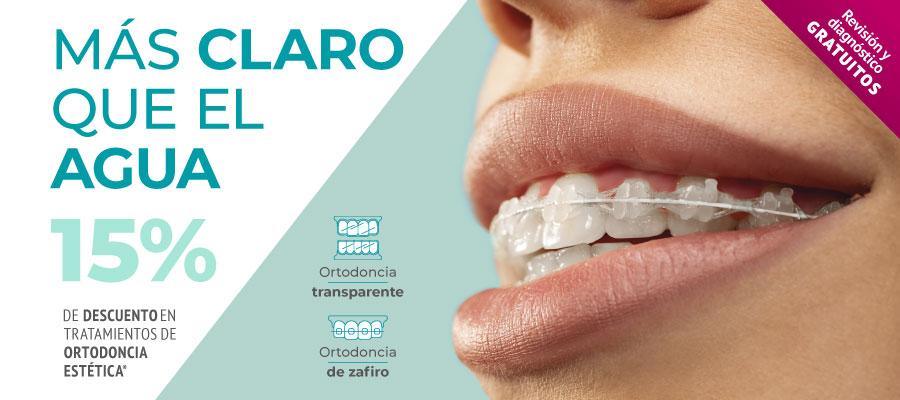 15% de descuento en ortodoncia estética (brackets de zafiro & ortodoncia invisible y removible)
